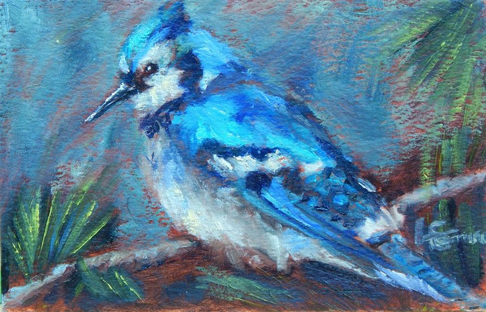 """BlueJay"" original fine art by Lina Ferrara"