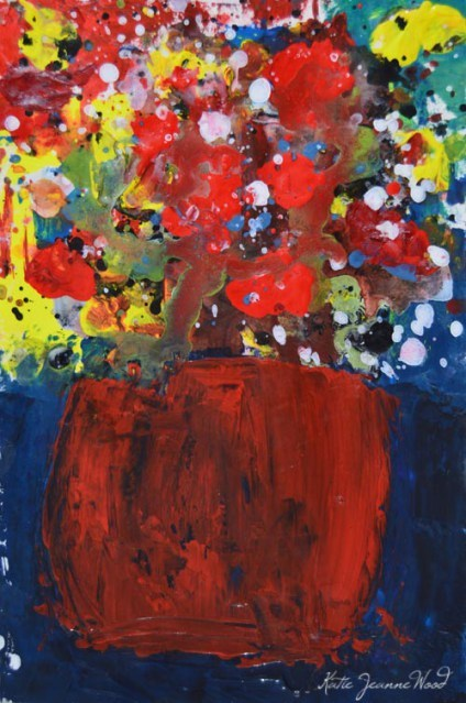 """""""Red & yellow floral painting No 180"""" original fine art by Katie Jeanne Wood"""