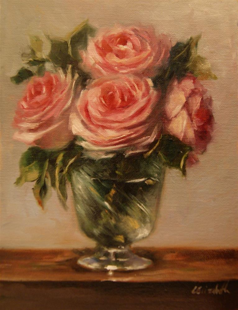 """Pink Roses in Crystal Cup,  Oil on 6x8 Linen Panel"" original fine art by Carolina Elizabeth"