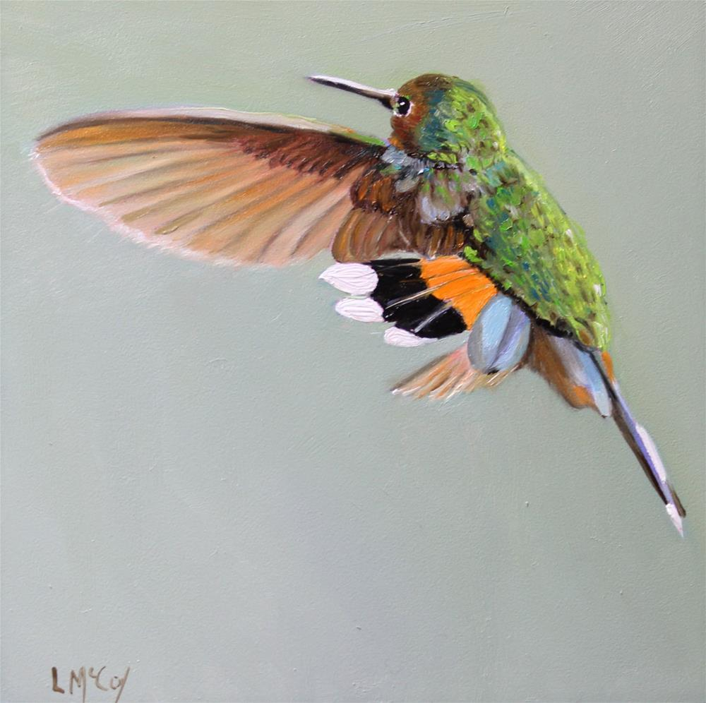 """Dance, Hummingbird Oil Painting"" original fine art by Linda McCoy"