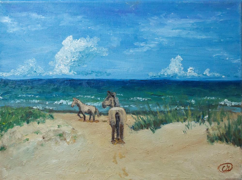 """Horses on the Beach"" original fine art by Carolina Giraldo"