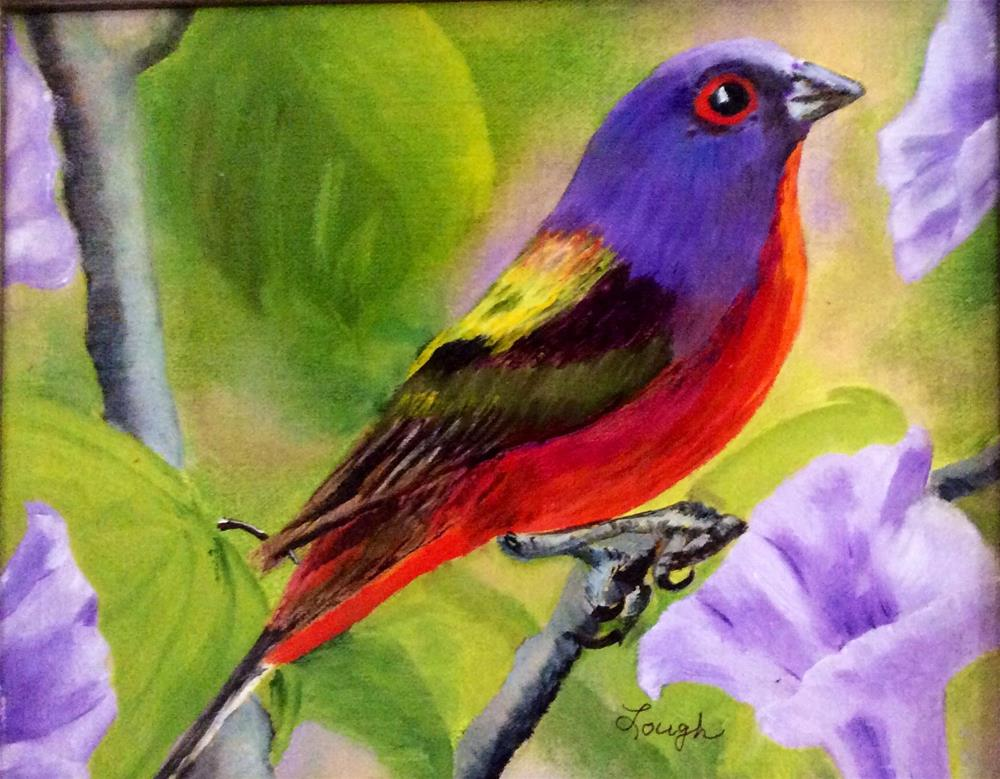 """Painted Bunting"" original fine art by Charlotte Lough"