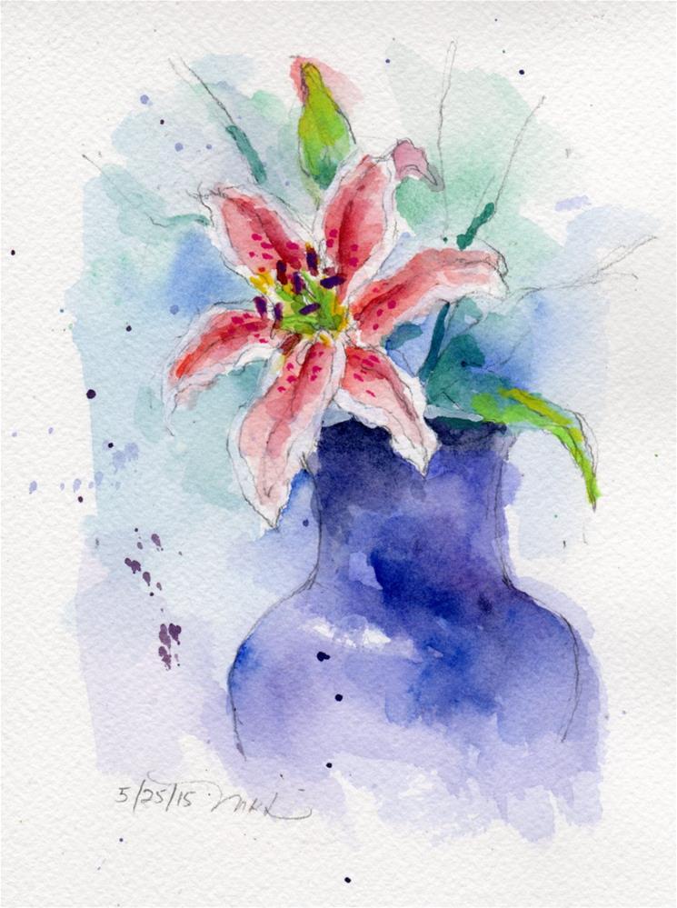 """""""Oriental Lily, watercolor"""" original fine art by Marlene Lee"""