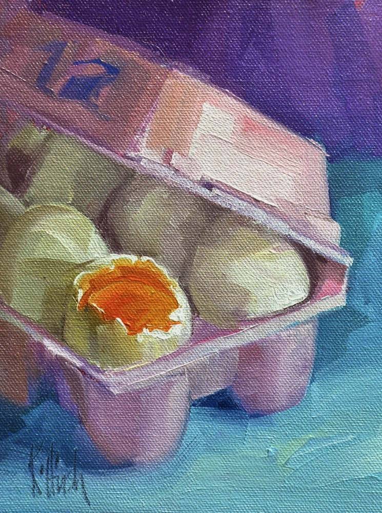 """The First Egg"" original fine art by kathy hirsh"