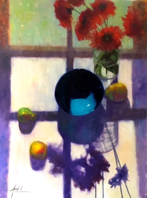 """Blue Bowl in Sunlight, 36x48"" original fine art by Ann Feldman"