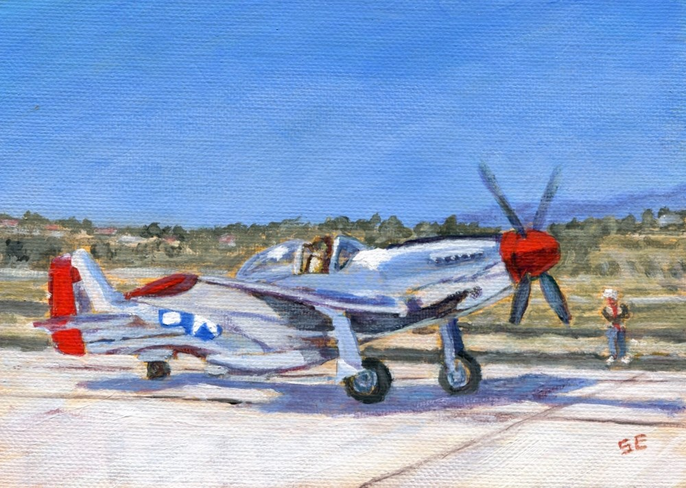 """""""Mustang P-51 Taxiing"""" original fine art by Stanley Epperson"""