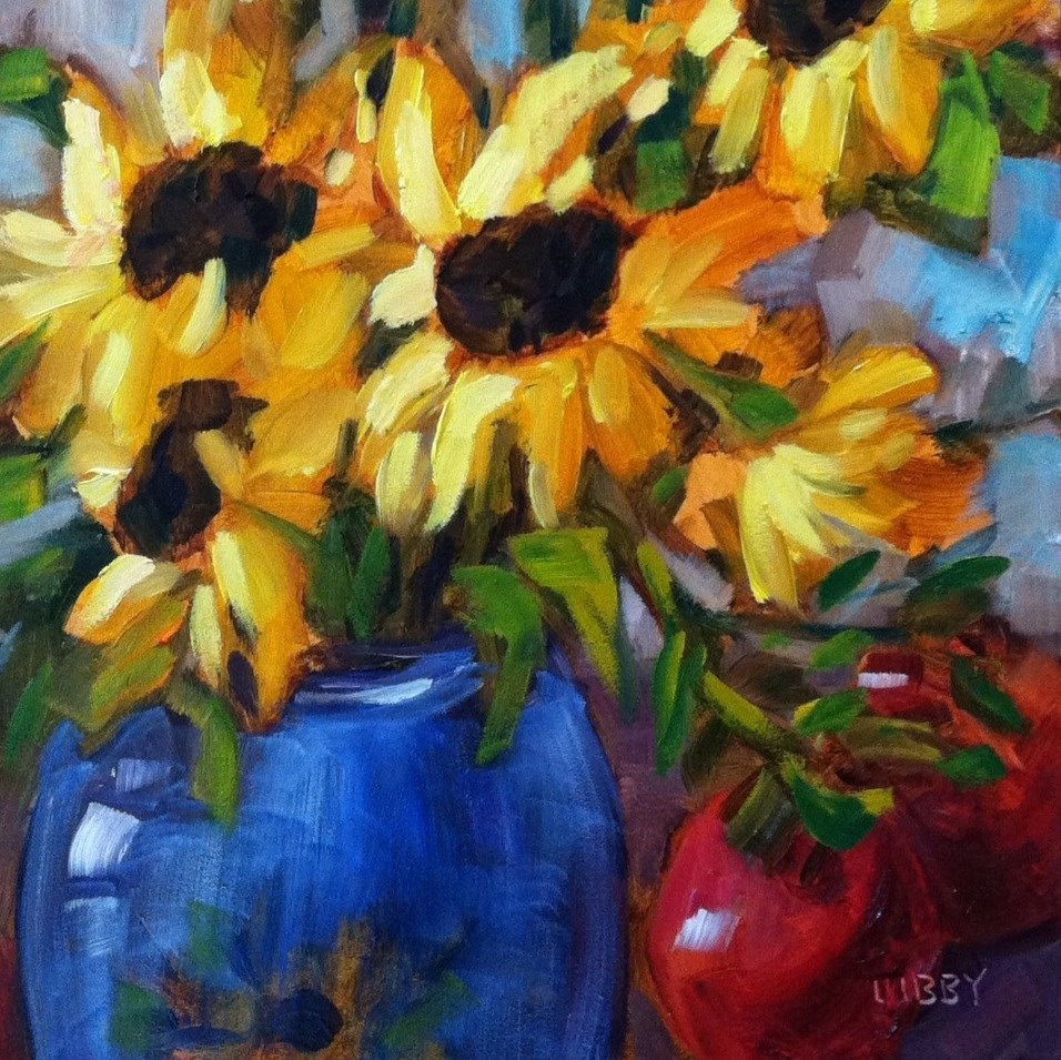 """Sunflower and Apples"" original fine art by Libby Anderson"