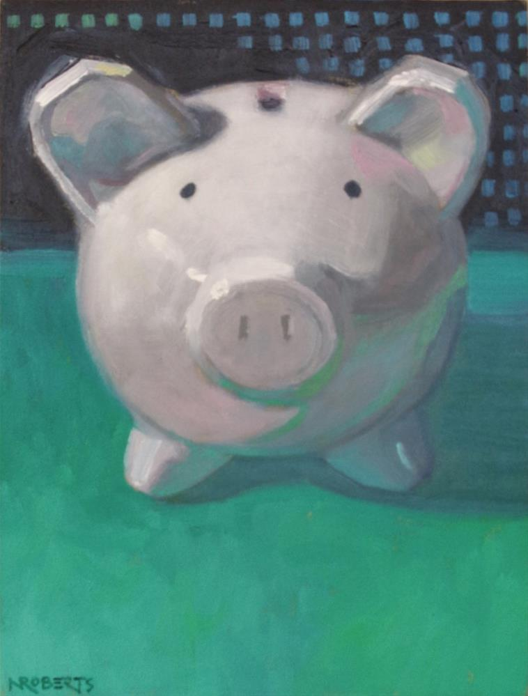 """Piggy on Green"" original fine art by Nancy Roberts"