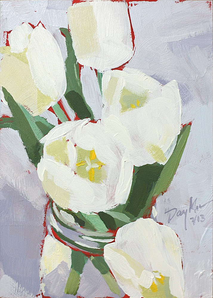 """White Tulips"" original fine art by Mike Daymon"