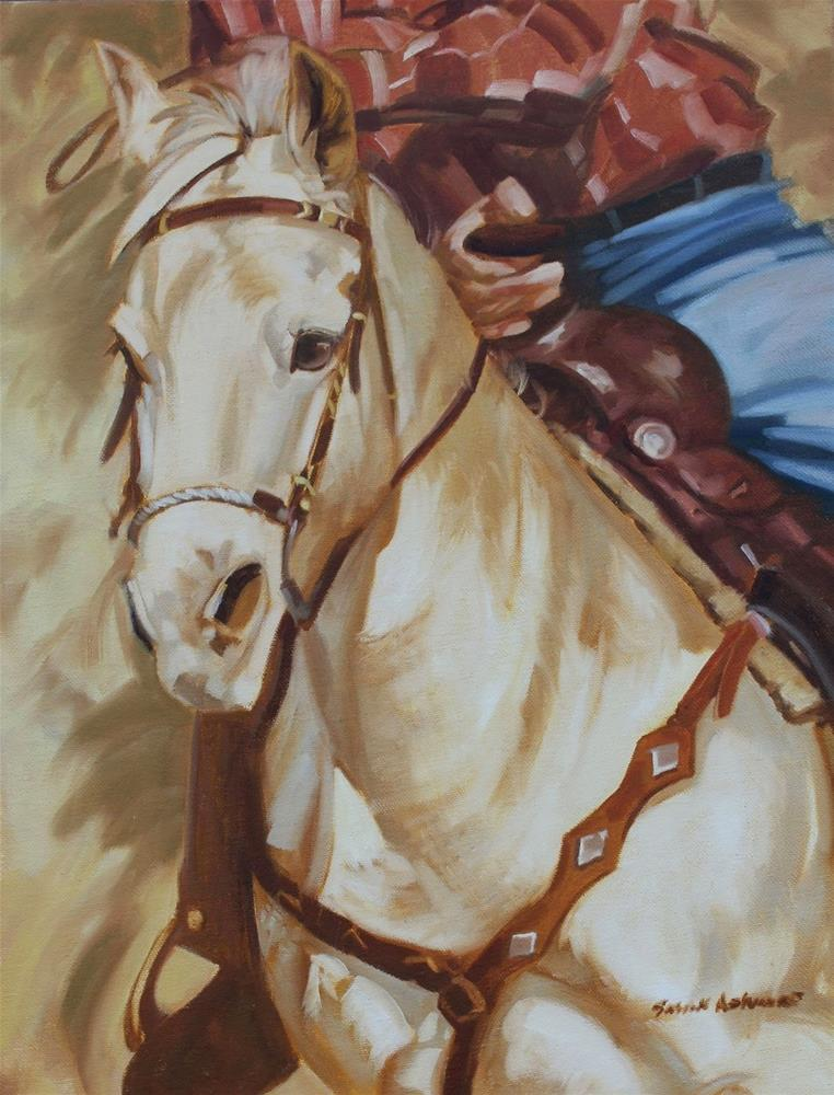 """White Horse   18 x 14 in"" original fine art by Susan Ashmore"