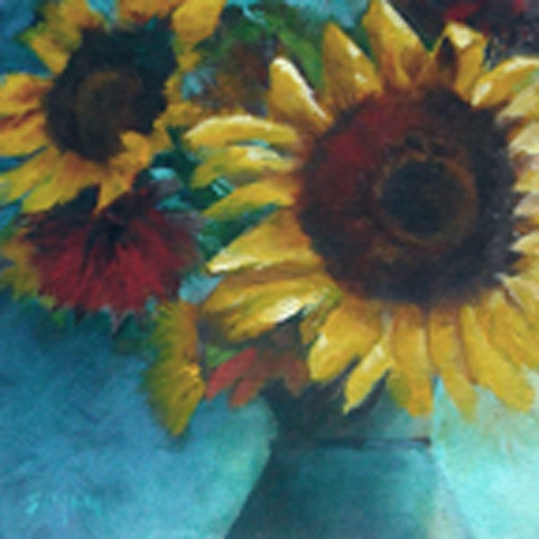 """Sunflower & Ceramic Vase"" original fine art by A.K. Simon"