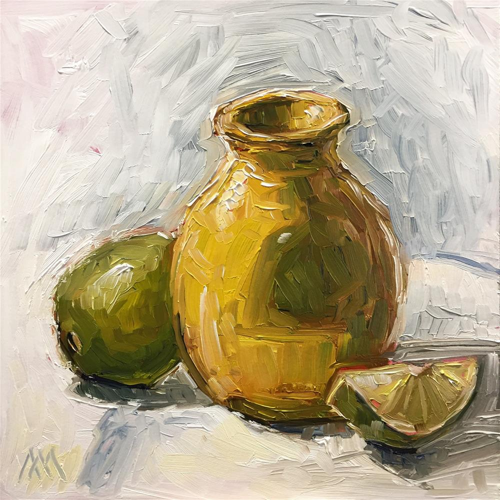 """""""Yellow Vase with Limes"""" original fine art by Austin Maloney"""