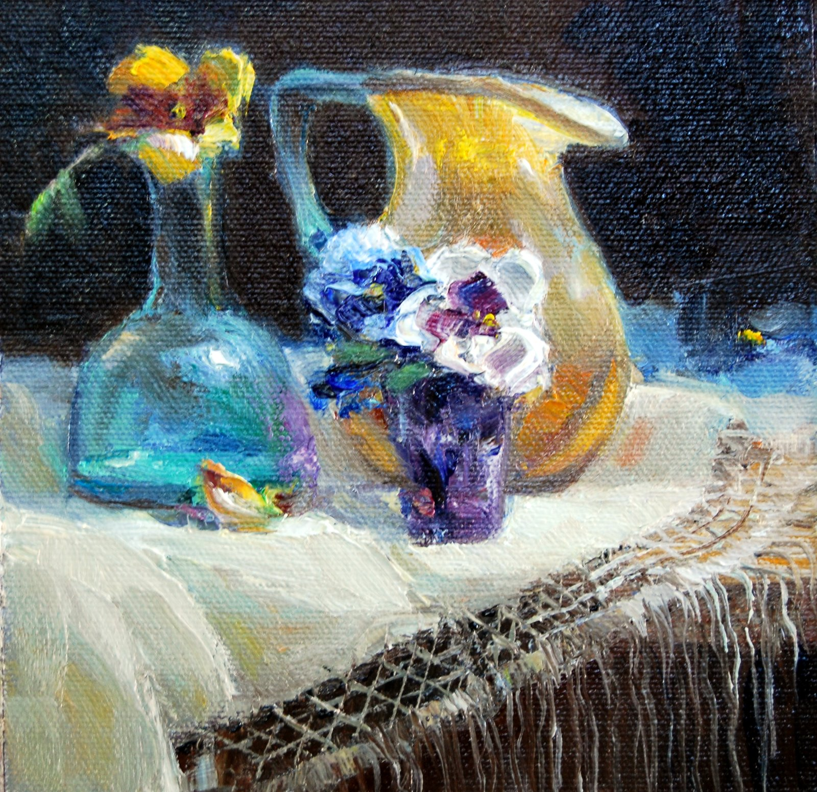 Glass and Pansies original fine art by Julie Ford Oliver