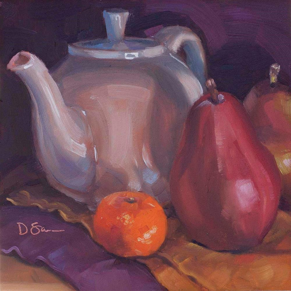 """Teapot Red Pears and a Clementine"" original fine art by Deborah Savo"