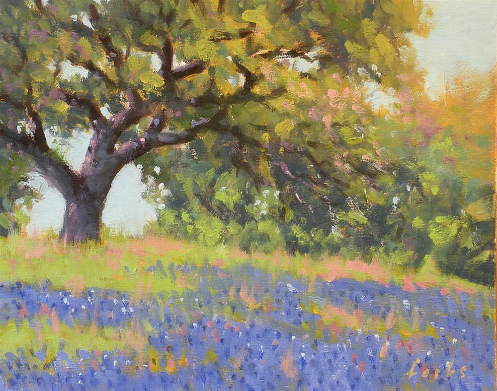 """Roadside Oak and Bonnets"" original fine art by David Forks"