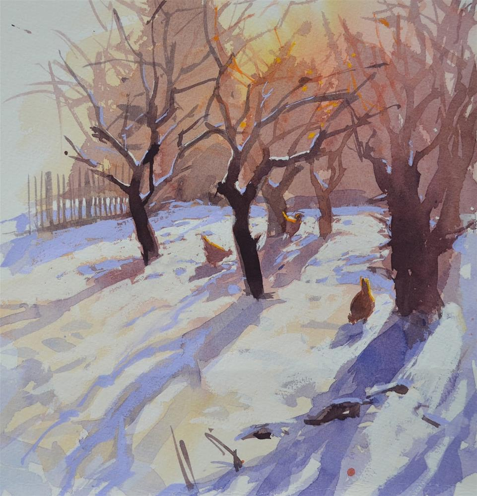 """Orchard in the snow"" original fine art by Haidee-Jo Summers"