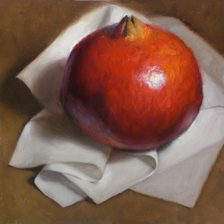 """Pomegranate on White"" original fine art by Debra Becks Cooper"