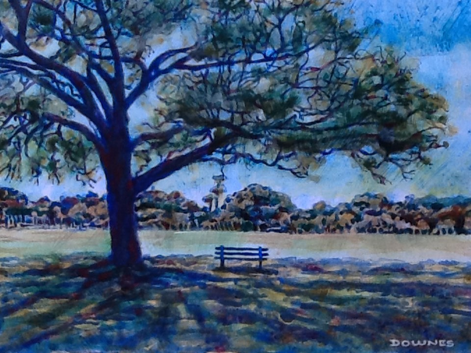 """057 PARKS & GARDENS 12"" original fine art by Trevor Downes"