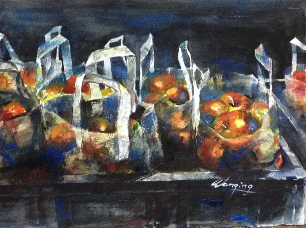 """BAGS OF APPLE"" original fine art by Wenqing Xu"