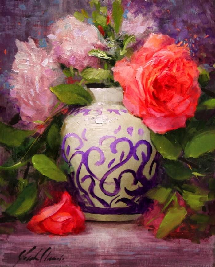 """Painted vase Roses Framed"" original fine art by Justin Clements"