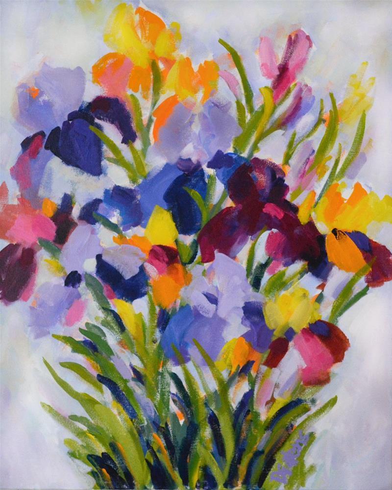 """""""Spring Iris Garden"""" original fine art by Pamela Gatens"""