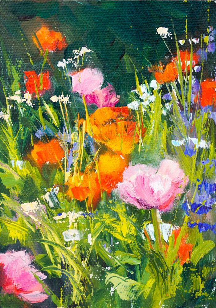 """KMD2941 Fleeting by Colorado Fine artist Kit Hevron Mahoney (7x5, original oil, floral, poppies)"" original fine art by Kit Hevron Mahoney"