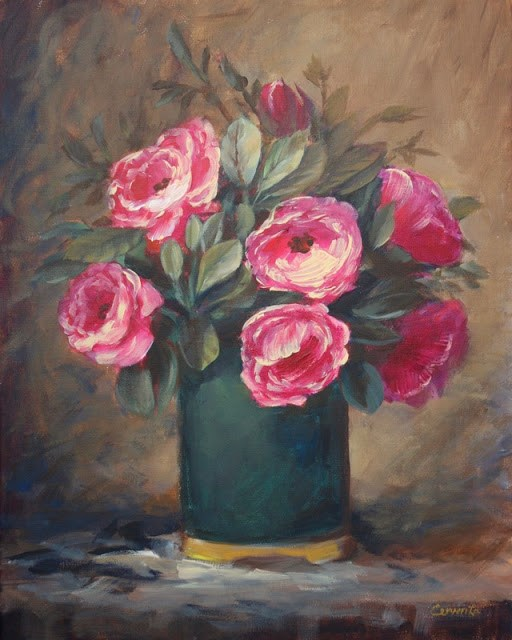 """Pink Roses in a Dark Vase"" original fine art by Sue Cervenka"