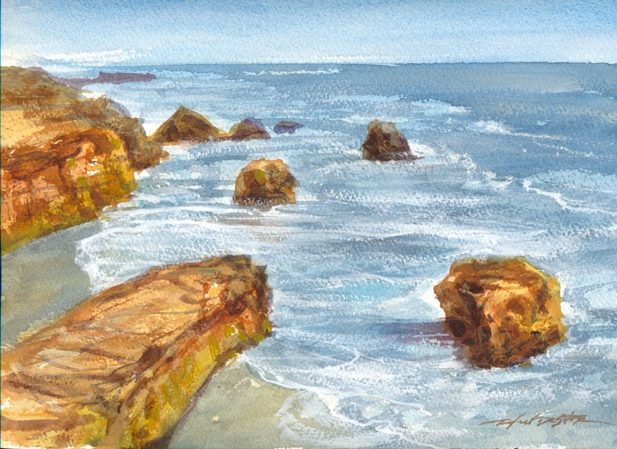 """West Cliff Beach"" original fine art by Rafael DeSoto Jr."