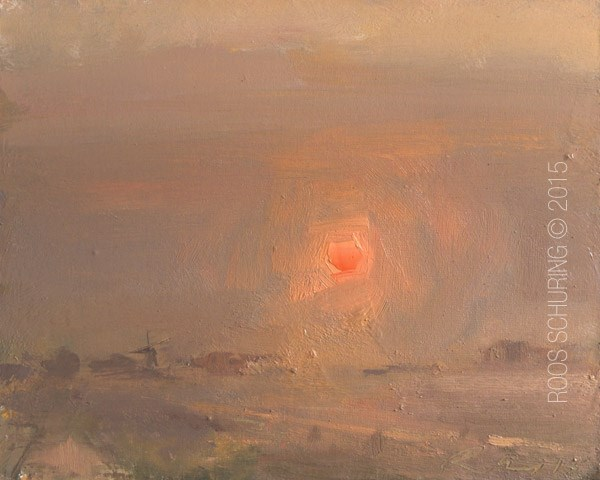"""Fog in the Morning Red Sun"" original fine art by Roos Schuring"