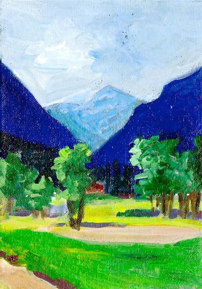 """View From Cheyenne Mountain Road original acrylic"" original fine art by Reveille Kennedy"