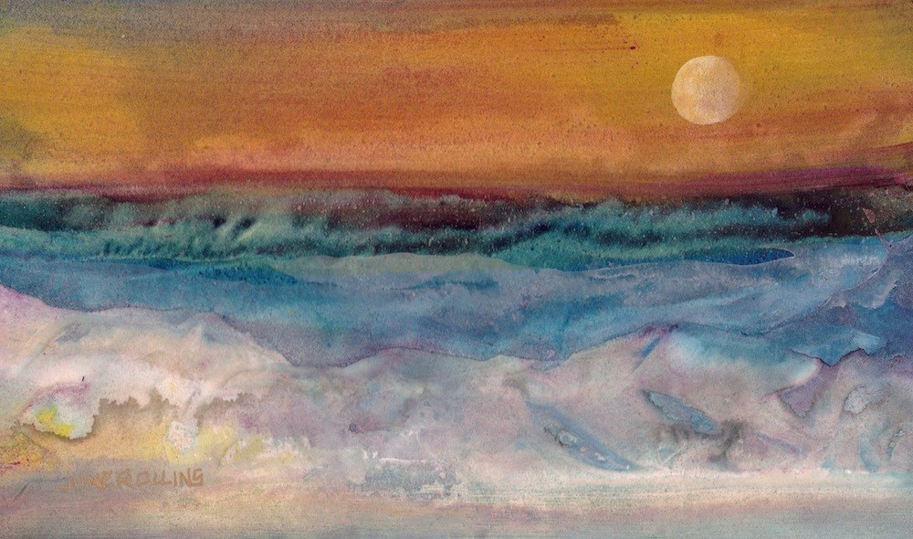"""By The Sea"" original fine art by June Rollins"