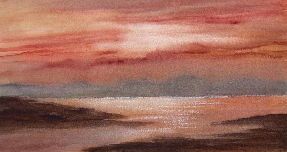 """""""Ocean Sunset"""" original fine art by Jean Lurssen"""