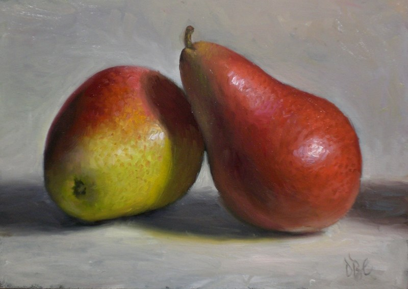 """Forelle Pears"" original fine art by Debra Becks Cooper"