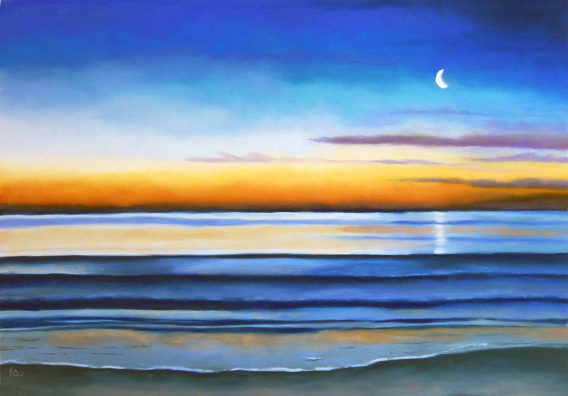 """Morning Tide seascape"" original fine art by Ria Hills"