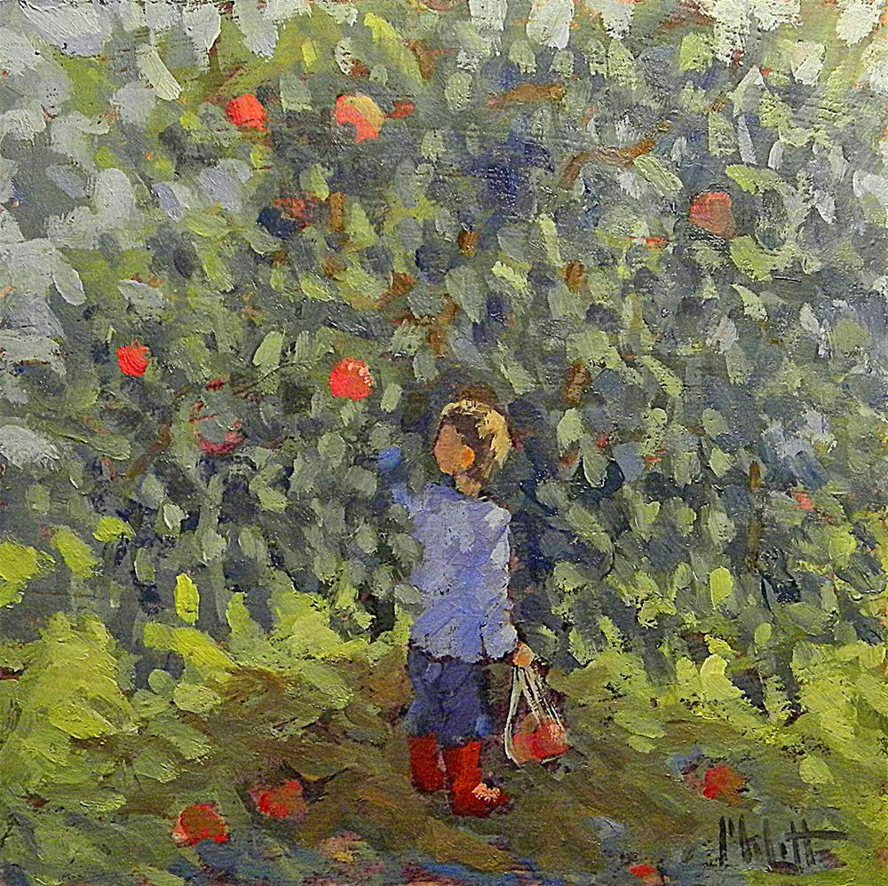 """You Pick Apple Orchard Little Boy Daily Oil Painting Heidi Malott"" original fine art by Heidi Malott"