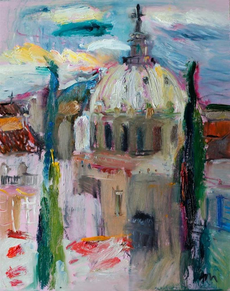 """View of Basilica of Our Lady of Charity  from the Roman Forum"" original fine art by Anna  Fine Art"