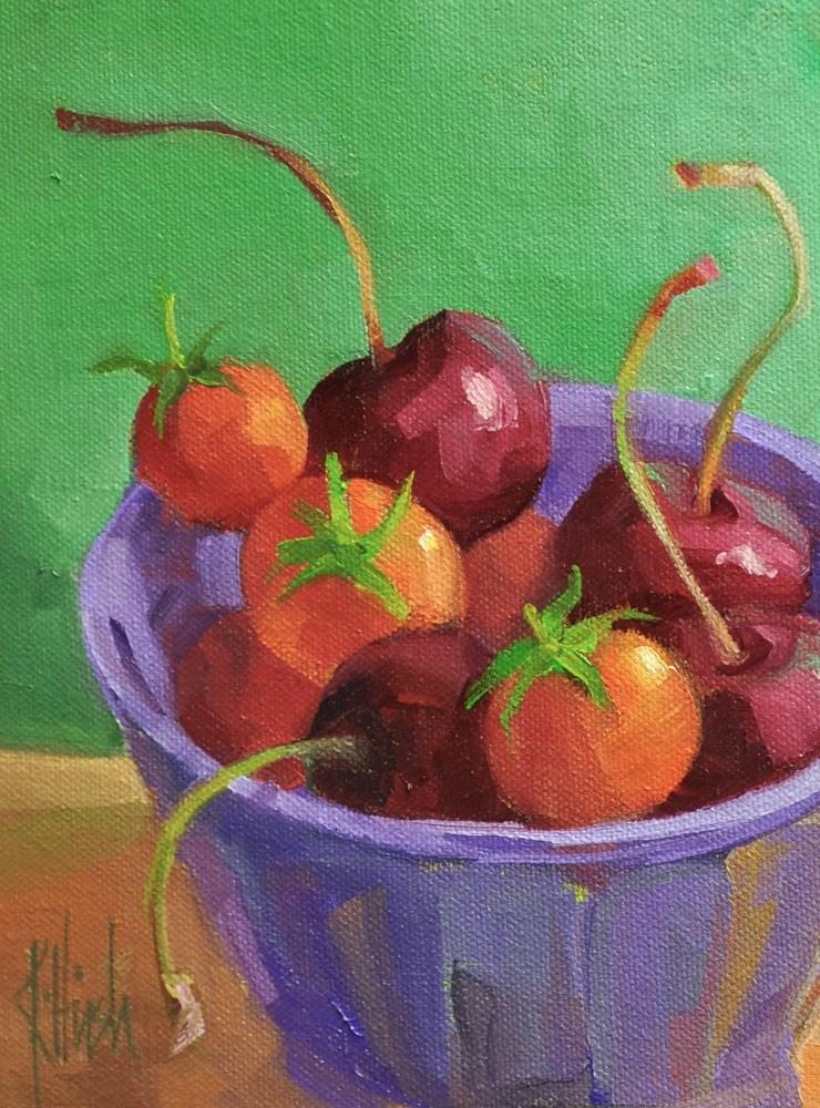"""Cherries Squared"" original fine art by kathy hirsh"