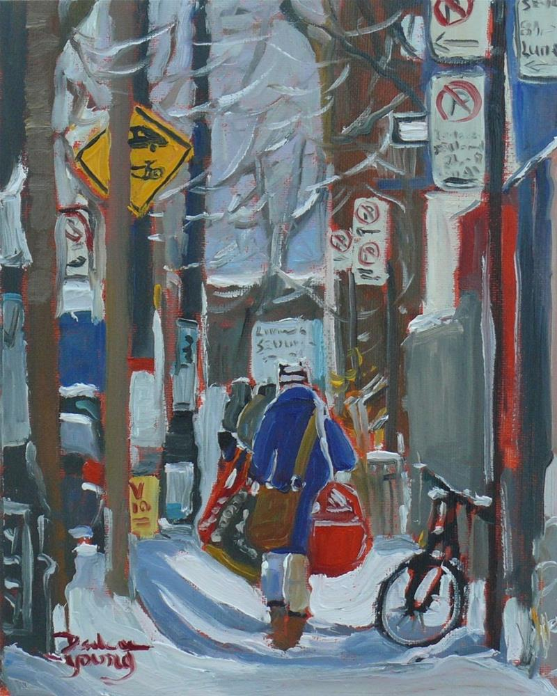 """685 Montreal Winter Scene McGill Student Ghetto"" original fine art by Darlene Young"