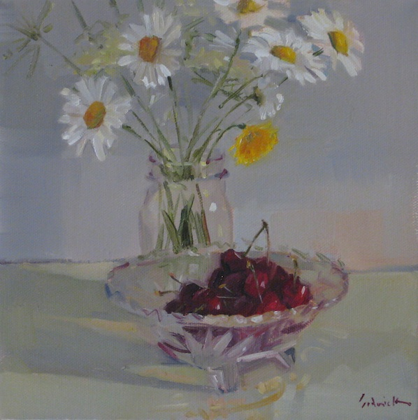 """Cherries and Wildflowers"" original fine art by Sarah Sedwick"