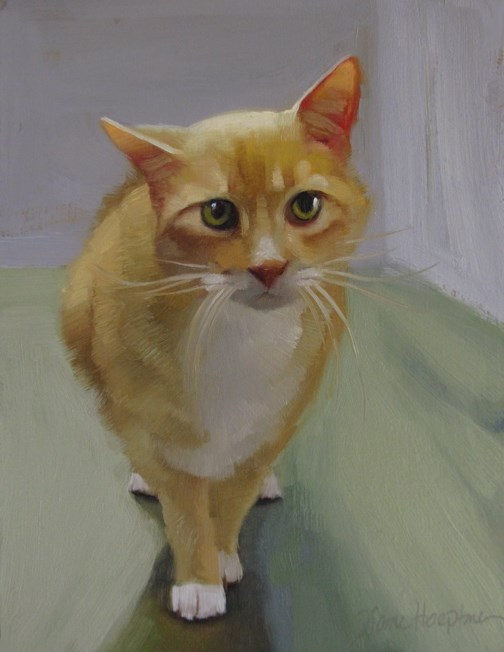 """Cautious painting of an orange cat"" original fine art by Diane Hoeptner"