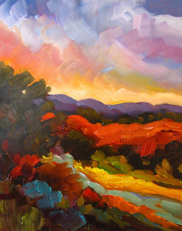 """SUNSET HILL"" original fine art by Dee Sanchez"