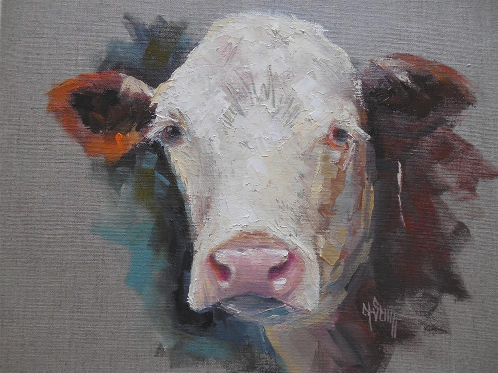 """Cow Painting, Daily Painting, Bovine Portrait by Carol Schiff, 11x14 Oil on Linen"" original fine art by Carol Schiff"