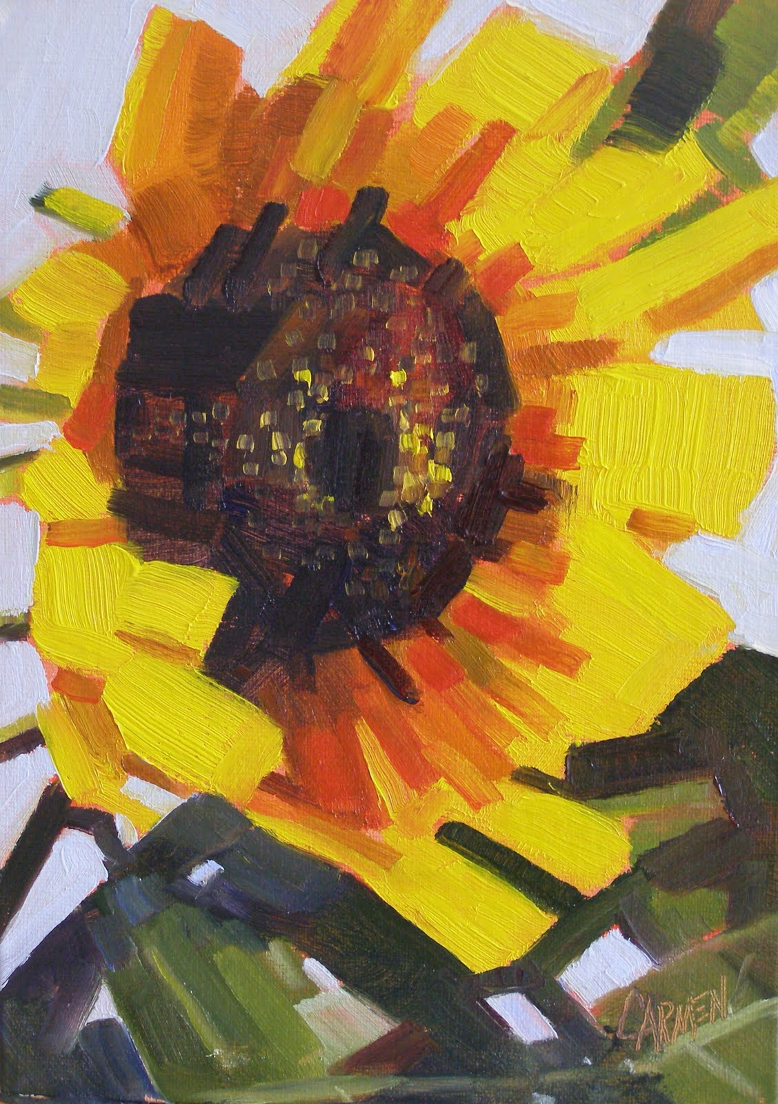 """Sunflower, 7x5 Oil on Linen"" original fine art by Carmen Beecher"