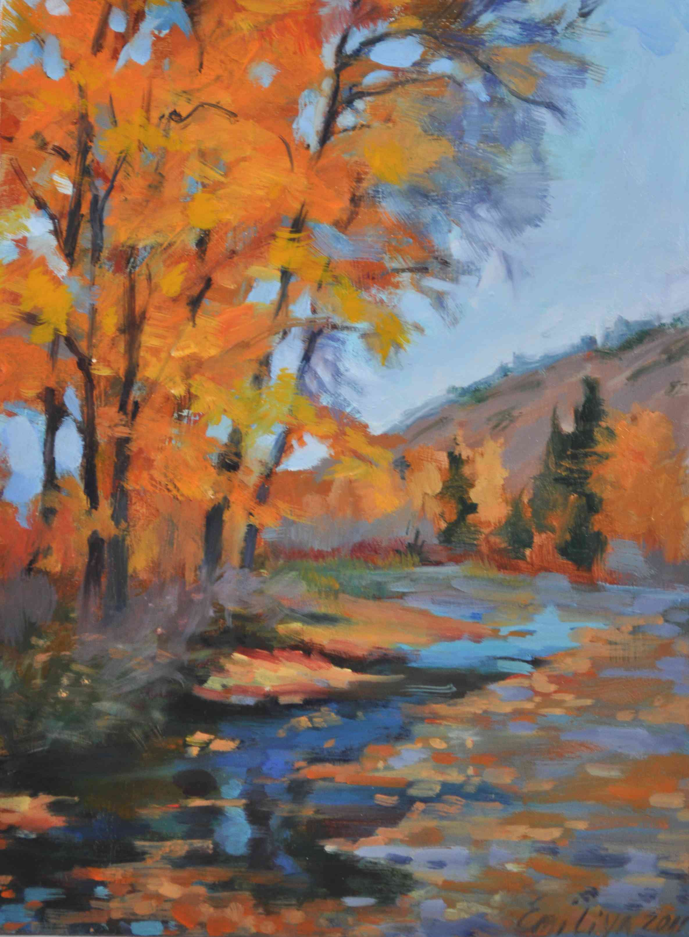 """Crystal Fall 12x9 oil on gessoed board"" original fine art by Emiliya Lane"