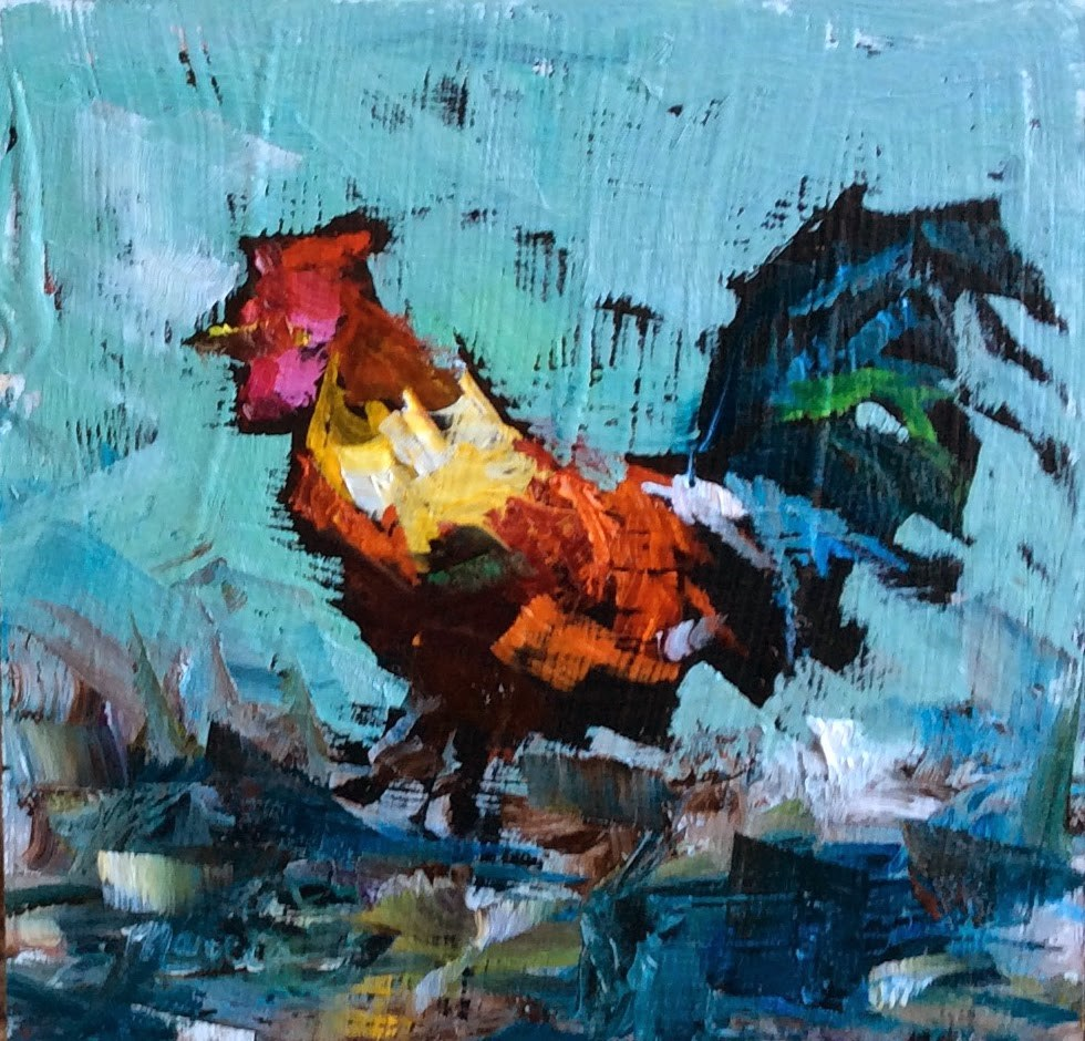 """Just a Rooster in Paradise"" original fine art by Marcia Hodges"