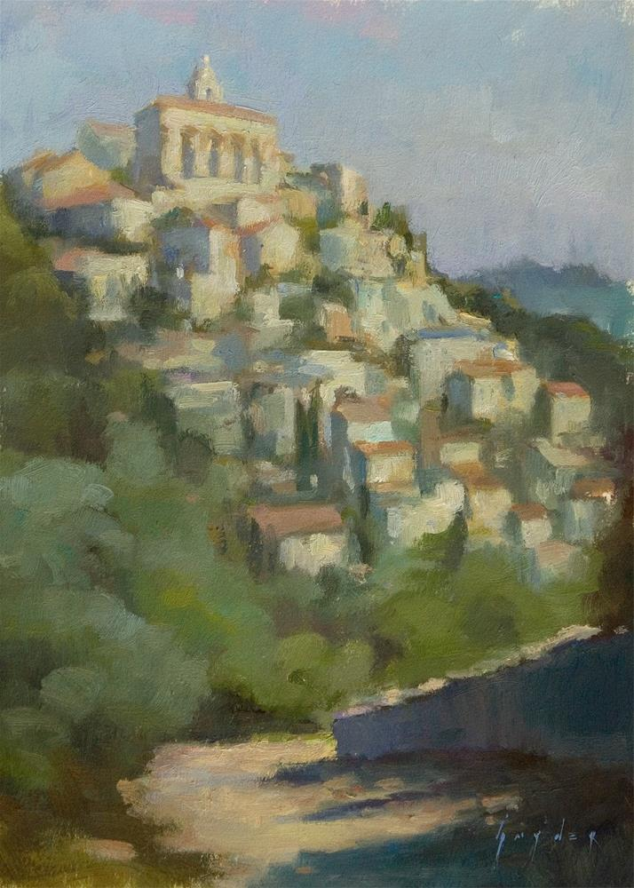 """View of Gordes - Hill Top Town"" original fine art by Julie Snyder"