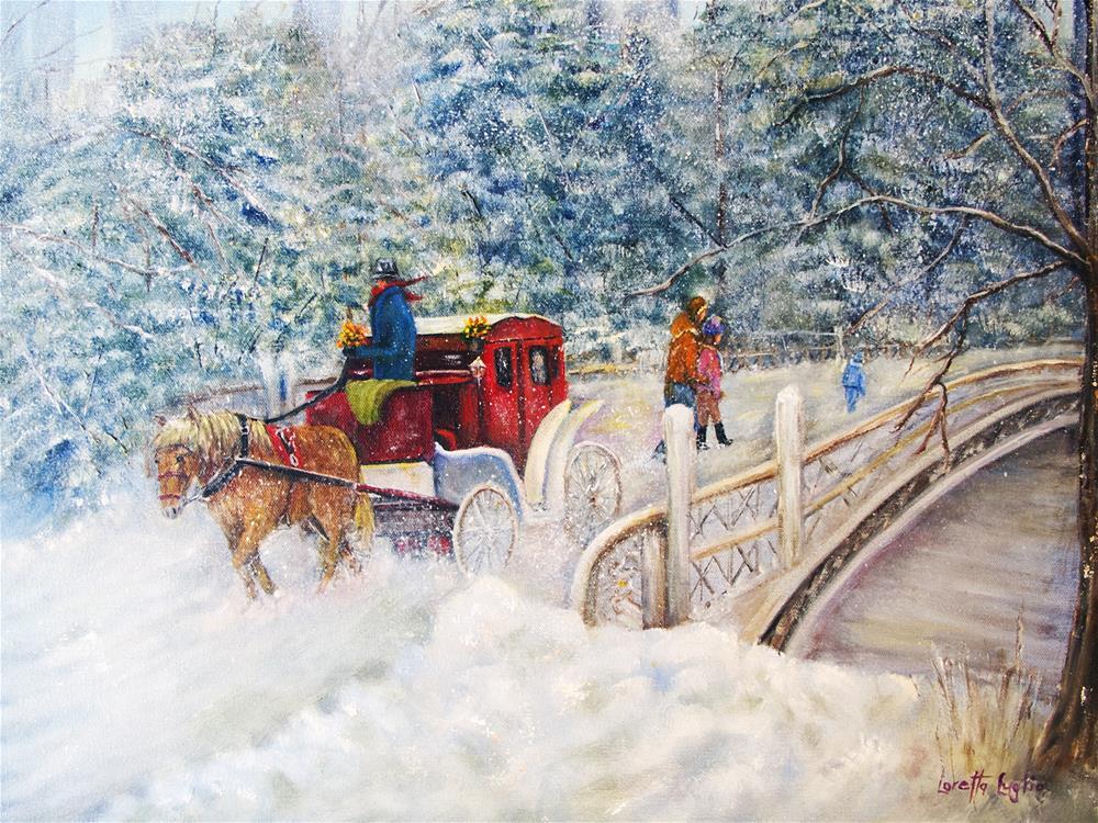 """""""Winter Carriage in Central Park"""" original fine art by Loretta Luglio"""