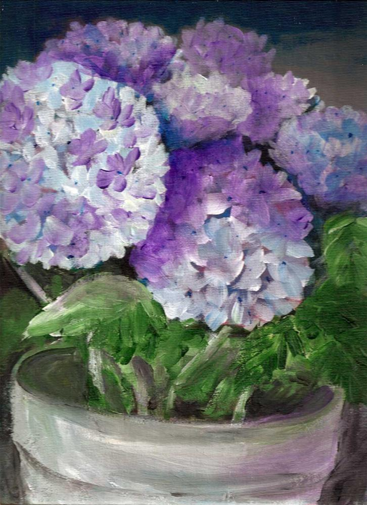 """9x12 Hydrangias in a pot, blues and purples, Acrylic on Canvas Board"" original fine art by Penny Lee StewArt"