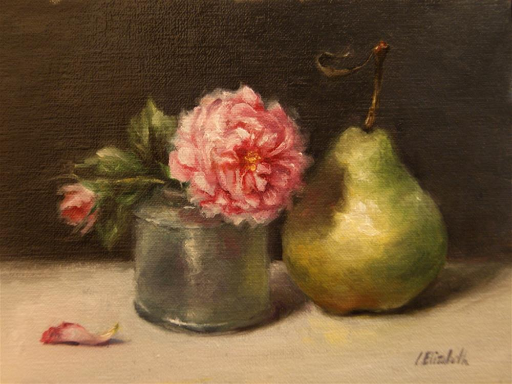 """Still Life with Roses, Glass Ink Bottle, and Pear"" original fine art by Carolina Elizabeth"