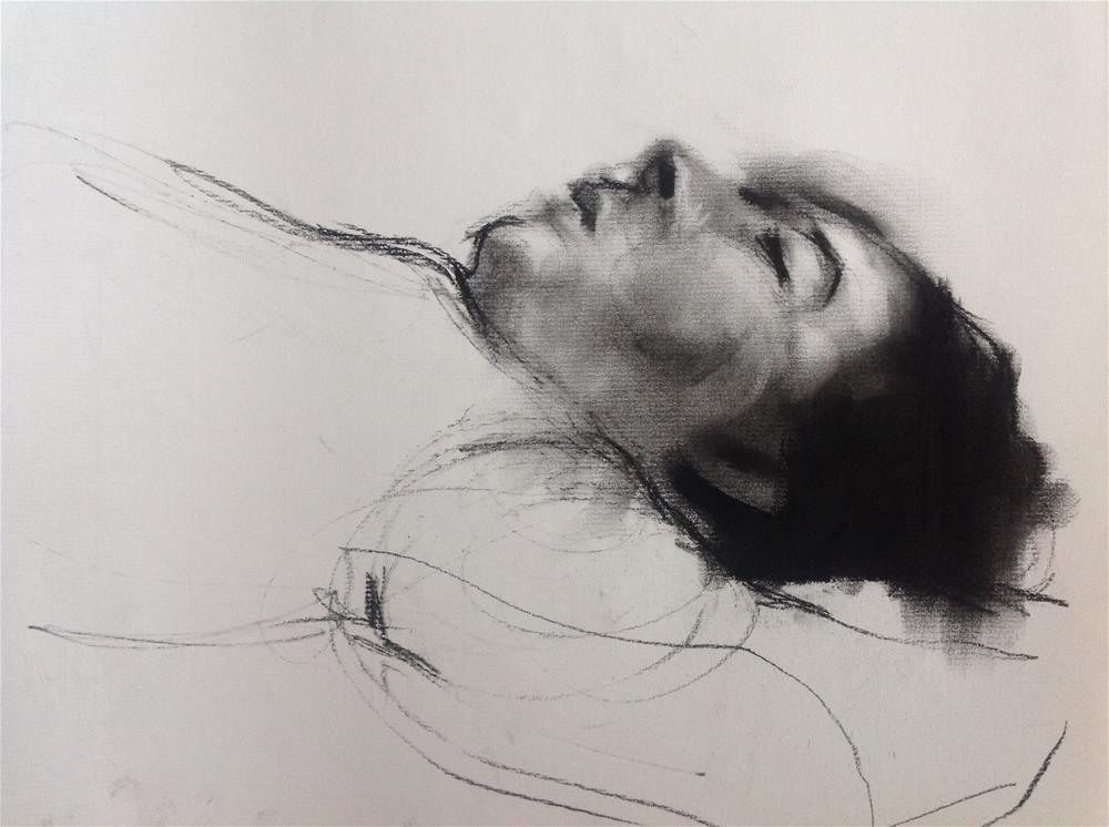 """Charcoal portrait study"" original fine art by Christine Bayle"